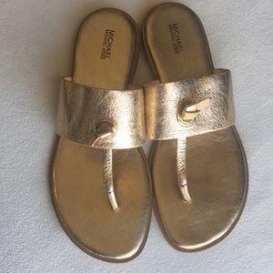 Michael Kors gold thong sandals sz 9